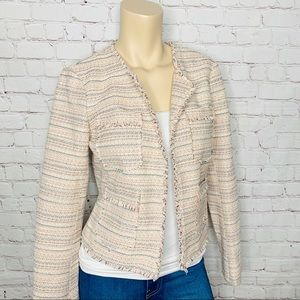 JOIE Cropped Tweed Blazer With Fringe Trim Size S